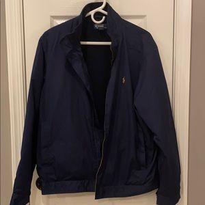 Men's navy jacket- does not zip- no zipper